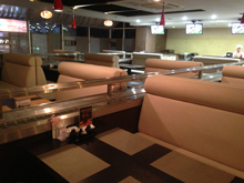 Express kaiten sushi conveyor, transporter, slider, completed projects, photo of the ready conveyor after mounting