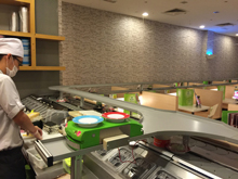 Express kaiten sushi conveyor, transporter, slider, completed projects, photo of mounting