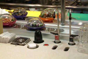 kaiten sushi conveyor, system of pouring hot / cold tea or water