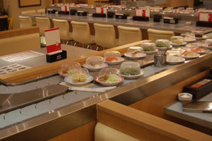 Kaiten sushi conveyor, automatic system of sorting plates, transfer of plates flow
