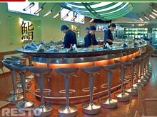 Water kaiten sushi conveyor, kaiten sushi boat, transporter, slider, completed projects, photo of the ready conveyor after mounting