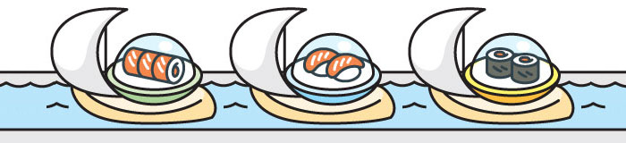 Water kaiten conveyor, sushi float on boats from a kitchen to the client's table
