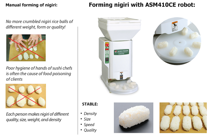 No more problems with forming nigiri rice balls with ASM410CE sushi robot.