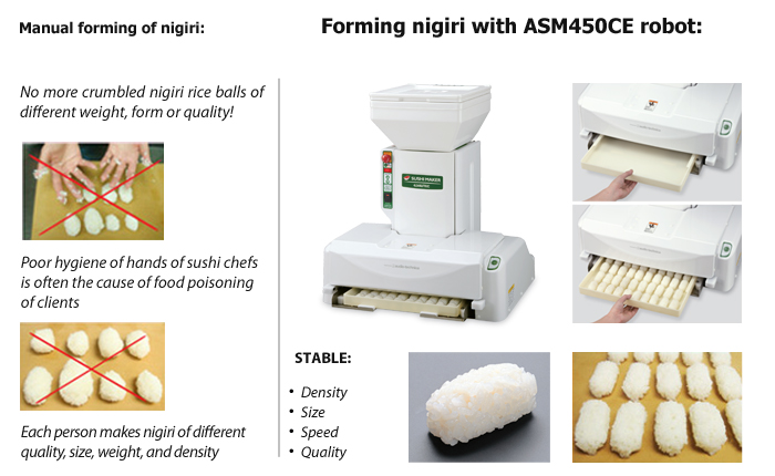 No more problems with forming nigiri rice balls with ASM450CE sushi robot.