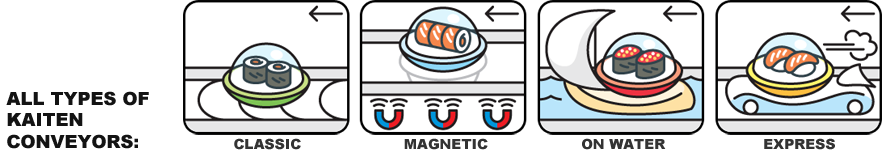 All types of kaiten sushi conveyors