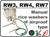 Manual rice washers RW3, RW4, RW7 for rinsing away starch