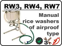 Manual rice washers RW3, RW4, RW7 for rinsing away starch